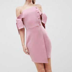 ASOS bardot tie sleeve button wrap mini dress new